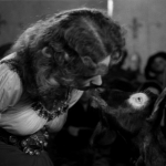 Esmeralda and Aristotle share a moment   maureen O'hara  1939 Hunchback of Notre dame  picture image