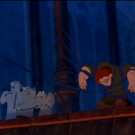 Victor, Hugo and Laverne trying to liberate Quasimodo in emo-mode Disney Hunchback of Notre Dame