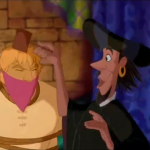 Clopin cosplaying as Frollo while tormenting Phoebus and Quasimodo Disney Hunchback of Notre Dame picture image