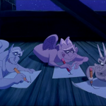 Victor, Hugo and Laverne draw pictures Disney Hunchback of Notre Dame