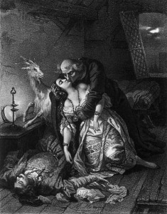 Frollo kissing Esmeralda, Illustration by Nicolas Eustache Maurin picture image