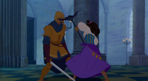 Phoebus Disney Hunchback of Notre Dame picture image hit in the face by Esmeralda