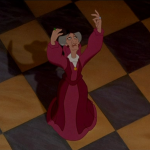 Frollo's Female Doppelganger singing a line in God Help the Outcast Disney Hunchback of Notre Dame picture image