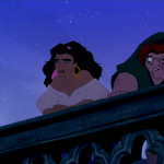 Esmeralda and Quasimodo looking over teh edge of Notre dame Disney Hunchabck of Notre Dame
