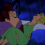 Madeline and Quasimodo in the rain Sequel Hunchback of Notre Dame II Disney picture image
