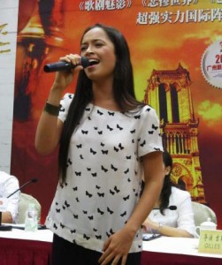 Candice Parise singing in a Press Conference in China Esmeralda Notre Dame de Paris picture image