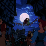Madeline and Quasimodo plus crowd Fa la la la Fallen In Love Hunchback of Notre Dame II Disney 2 Sequel picture image