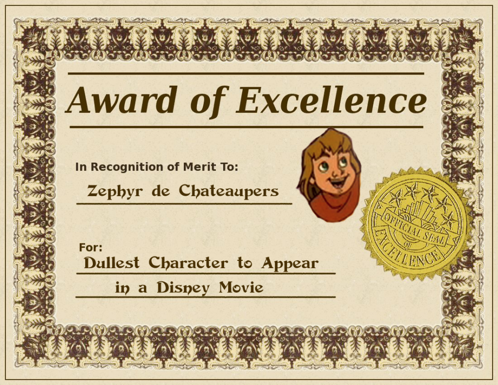 Zephyr's Award for Dullest Character Hunchback of Notre Dame sequel 2 II Disney picture image