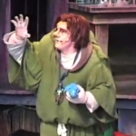 Quasimodo with a plastic model Esmeralda Disney Hunchback of Notre Dame Stage Show picture image