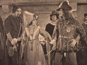Esmeralda (Pasty Ruth Miller), Phoebus (Norman Kelly) and Clopin (Ernest Torrence) Ball Scene Hunchback of Notre Dame 1923 picture image
