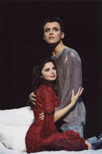 Shirel as Esmeralda in the Red with Laurent Ban as Phoesbus Notre Dame de Paris 2001 French Cast picture image