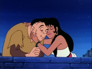 Quasimodo and Esmeralda embrace Esmeralda in Sanctuary Jetlag version Hunchback of Notre Dame picture image
