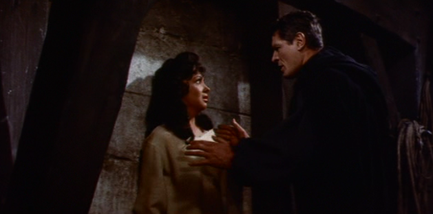 Frollo (Alain Cuny) and Esmeralda (Gina Lollobrigida), 1956 Hunchback of Notre Dame, picture image