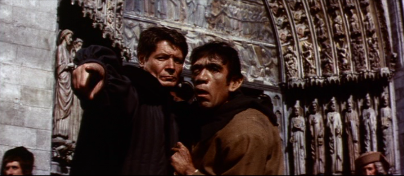 Quasimodo (Anthony Quinn) & Frollo (Alain Cuny), 1956 The Hunchback of Notre Dame picture image