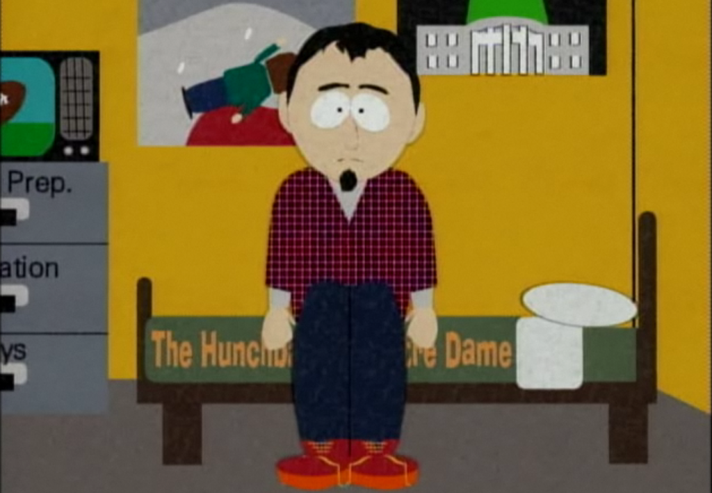 The Ice Man sits on his Hunchback Bed set, South Park Season 2 Episode 18, Prehistoric Ice Man picture image