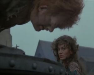 Anthony Hopkins as Quasimodo & Lesley-Anne Down as Esmeralda, 1982 Hunchback of Notre Dame, picture image