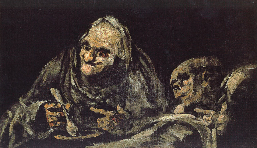 "Goya painting titled ""Old Men""  picture image"