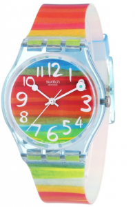 Swatch Women's  Quartz Rainbow Dial Plastic Watch, Gringoire picture image