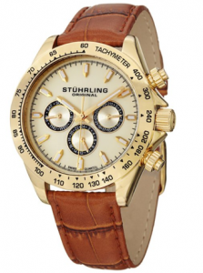 Stuhrling Original Men's  Triumph Classic Swiss Quartz Multifunction Gold Tone Watch Jehan picture image