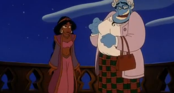 Jasmine and Genie as Mrs Doubtfire, Aladdin and the King of Thieves picture image