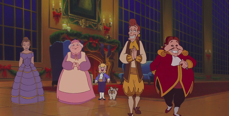 Human forms of Mrs.Potts, Chip, Lumiere and Cogsworth, Beauty and the Beast; The Enchanted Christmas picture image