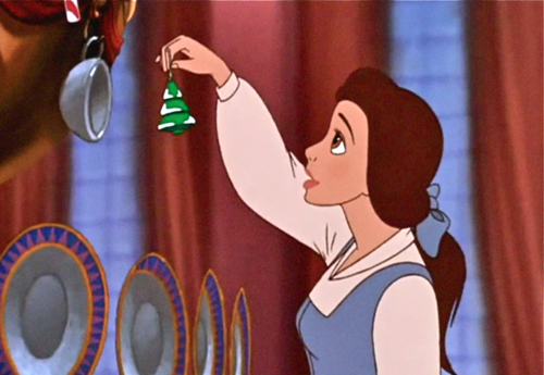 Belle decorates the Mock Christmas tree Beauty and the Beast; The Enchanted Christmas picture image
