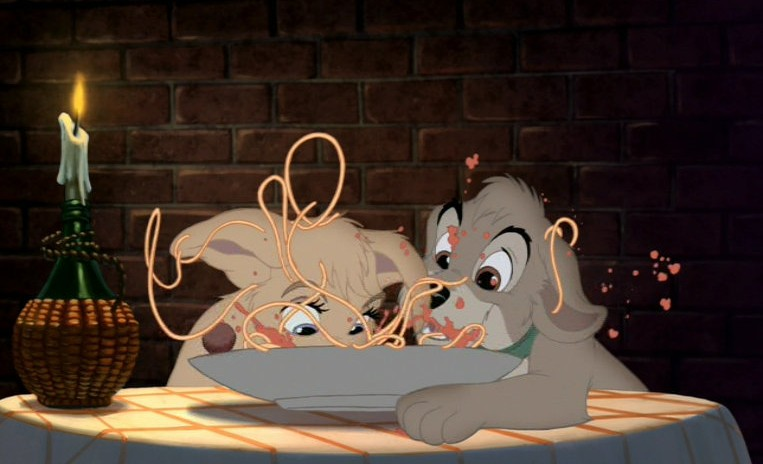 Angel and Scamp in the almost Bella Notte scene, Lady and the Tramp II: Scamp's Adventure picture image