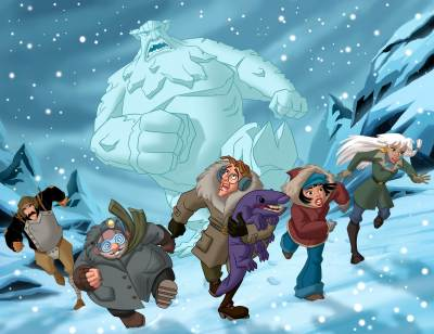 Atlantis; Milo's Return gang running from a snowman picture image