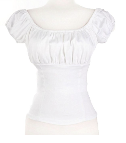 Amashz White Women Rockabilly Pinup Peasant Top picture image