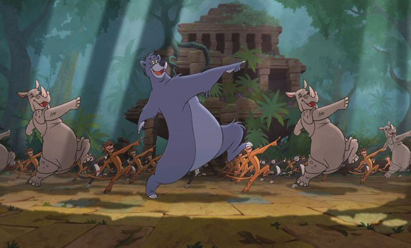 Baloo dancing with animals that  are not native to India The Jungle Book 2 picture image
