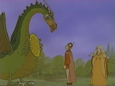 Gorbash, Peter Dickinson and Princess Milisande The Flight of Dragons picture image