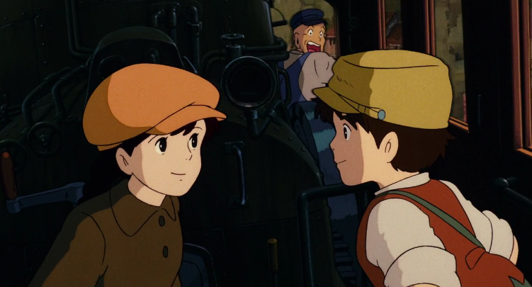 Pazu and Sheeta escape from the pirates on a train Castle in the Sky picture image