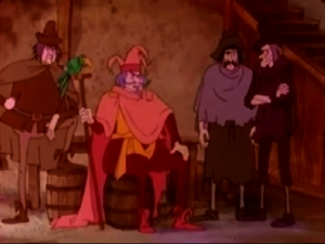Clopin with thin legged extras 1986 Hunchback Notre Dame picture image