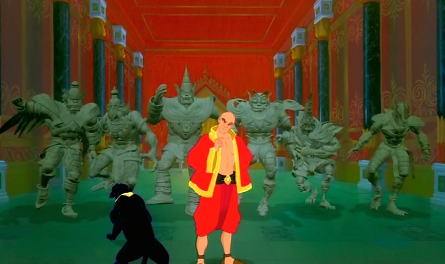 The King and Rama the panther with stupid CG killer Statues The King and I Picture image