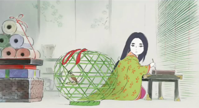 Kaguya with a caged bird The Tale of the Princess Kaguya picture image