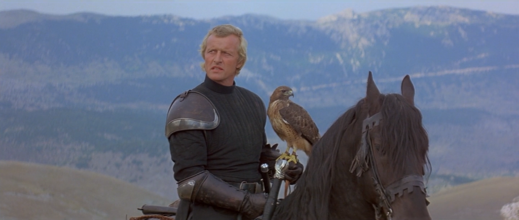 Rutger Hauer as Navarre with Isabeau in Hawk form Ladyhawke picture image