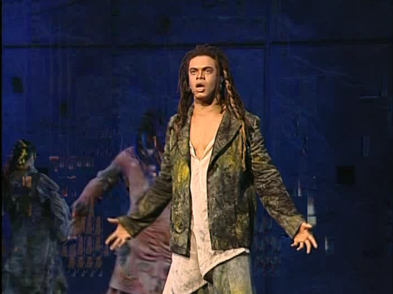 Luck Mervil as Clopin singing Le Sans Papiers, Notre Dame de Paris picture image