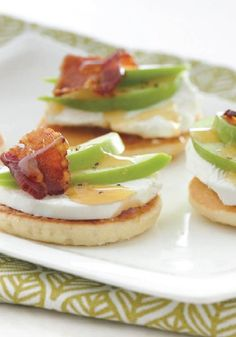 Goat Cheese, Apple and Bacon Canapés are made special with Eggo Buttermilk Pancakes picture image