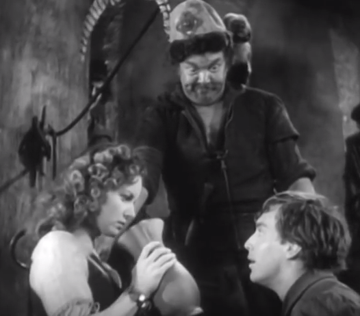 Maureen O'Hara as Esmeralda and Edmond O'Brien as Gringoire  1939 Hunchback of Notre Dame picture image