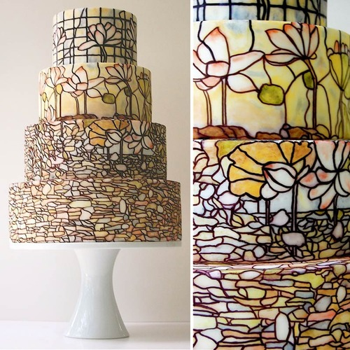 Tiffany Style stained glass Wedding cake picture image
