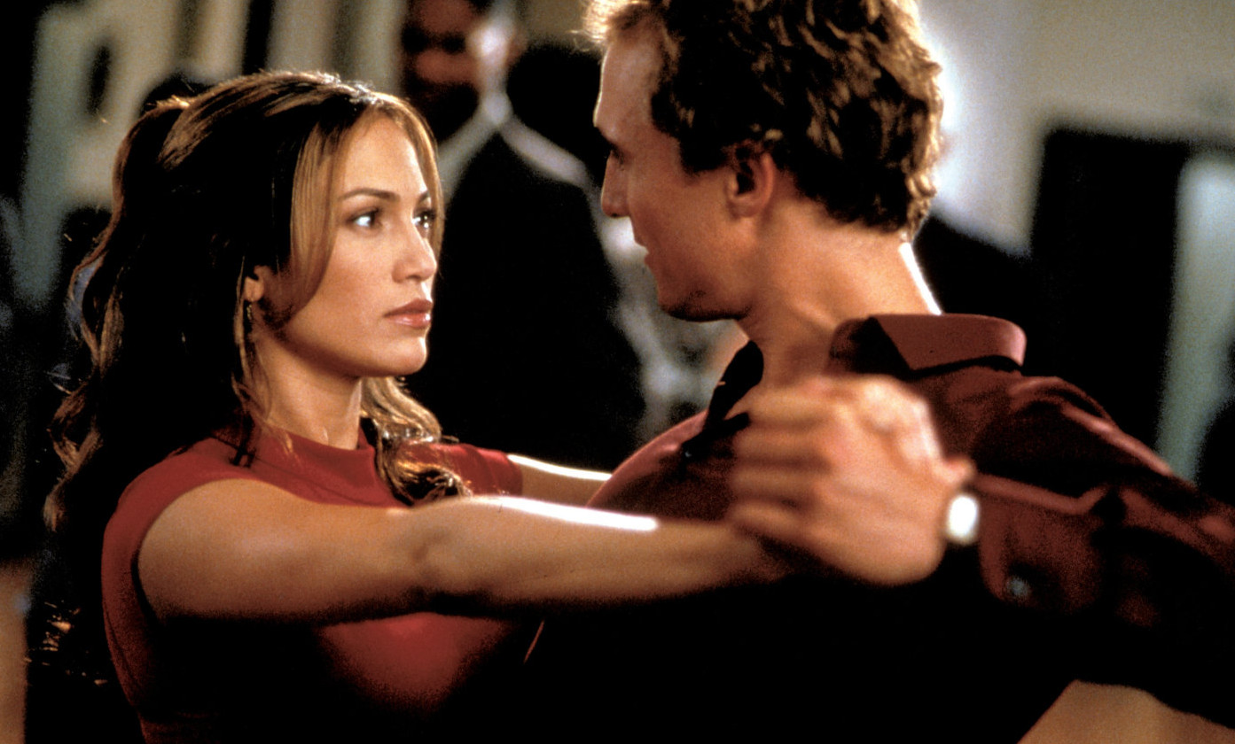 Mary (Jennifer Lopez) and Steve (Steve (Matthew McConaughey) doing a snarky tango The Wedding Planner picture image