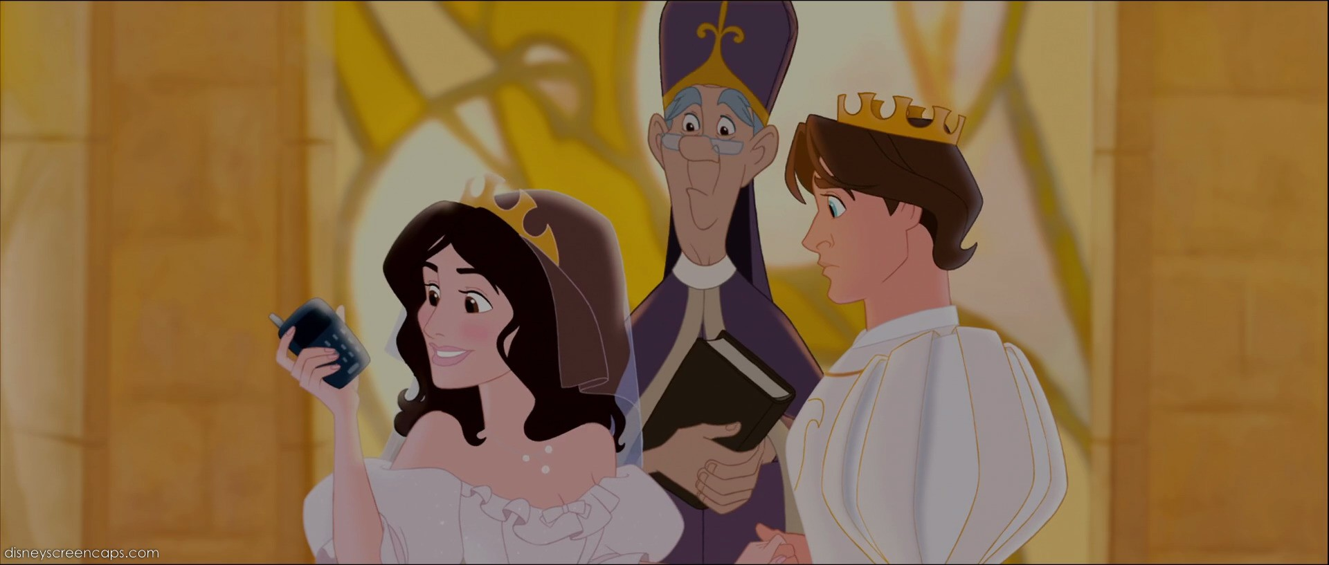 Nancy Tremaine (voice by Idina Menzel) and Prince Edward (voiced by James Marsden) getting married in Andalasia Enchanted picture image