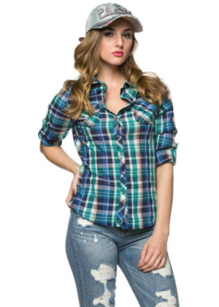 SOHO GLAM Button Up Plaid Flannel in Blue Teal picture image