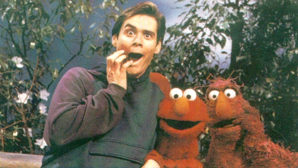 Jim Carrey with Elmo and Telly on Sesame Street picture image