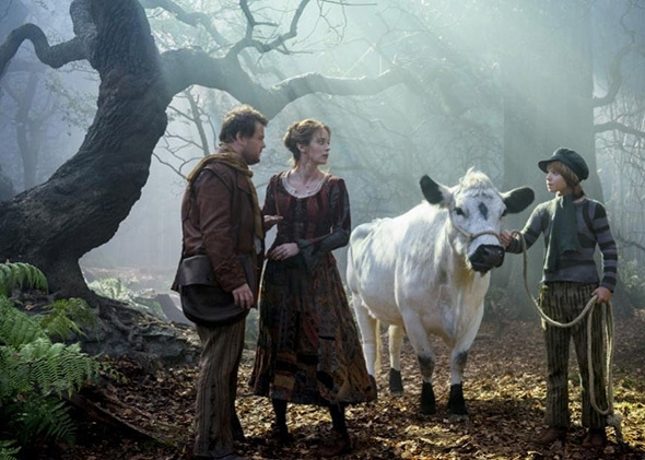 Emily Blunt as The Baker's Wife, James Corden as The Baker and Daniel Huttlestone as Jack Into the Woods Picture image