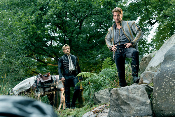 Chris Pine as Cinderella's Prince and Billy Magnussen as Rapunzel's Prince Into the Woods Picture image