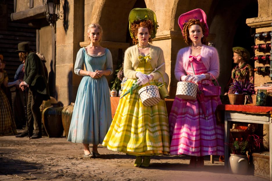 Lily James as Ella, Sophie McShera as Drisella and Holliday Grainger as Anastasia Cinderella 2015 picture image