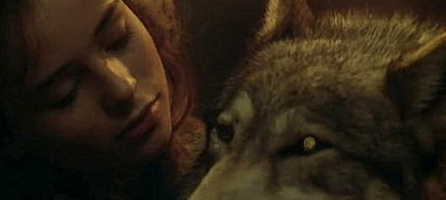 Sarah Patterson as Rosaleen with the wolf In the Company of Wolves