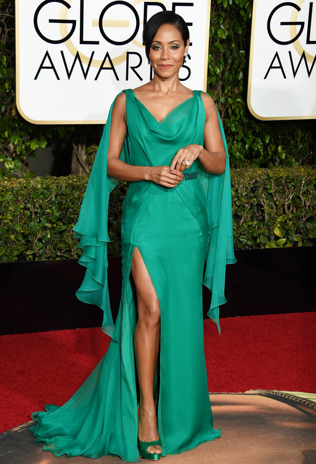 Jada Pinkett Smith wearing Versace at 2016 Golden Globes VALERIE MACON/AFP/Getty Images picture
