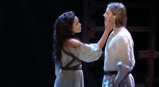 Ciara Renée as Esmeralda and Andrew Samonsky as Phoebus performing Someday, La Jolla cast of The Hunchback of Notre Dame picture image
